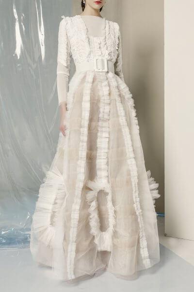 Платье макси с рюшами MF-FW1920-22_outlet, фото 1 - в интеренет магазине KAPSULA