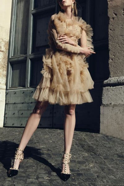 Платье мини с рюшами MF-FW1920-23_outlet, фото 1 - в интеренет магазине KAPSULA