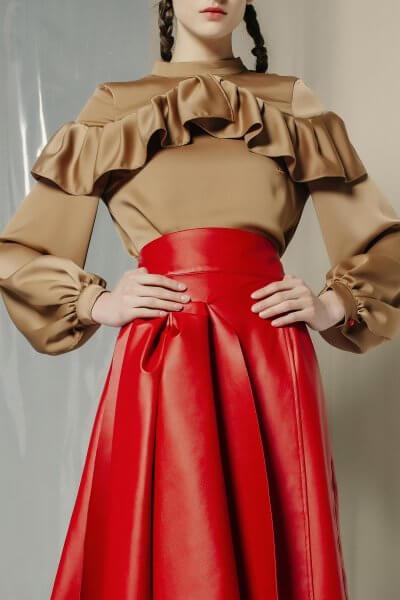Шелковая блуза с оборками MF-FW1920-6_outlet, фото 1 - в интеренет магазине KAPSULA