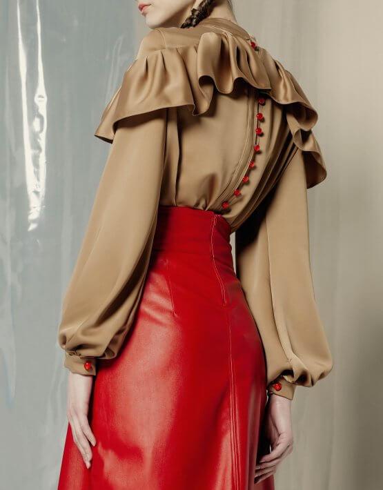 Шелковая блуза с оборками MF-FW1920-6_outlet, фото 3 - в интеренет магазине KAPSULA