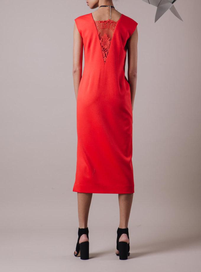 Платье с кружевной вставкой MMT_013_red_dress_with_lace, фото 1 - в интернет магазине KAPSULA