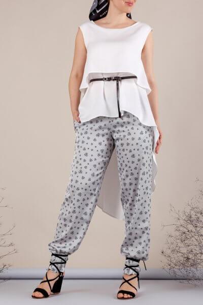 Легкие брюки на резинке MMT_062_gray_logo, фото 3 - в интеренет магазине KAPSULA