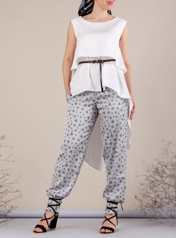 Легкие брюки на резинке MMT_062_gray_logo, фото 1 - в интернет магазине KAPSULA