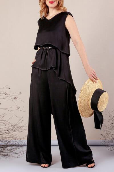 Костюм с брюками палаццо MMT_075_076_black, фото 8 - в интеренет магазине KAPSULA