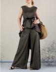 Костюм с брюками палаццо MMT_075_white_076_black, фото 5 - в интеренет магазине KAPSULA