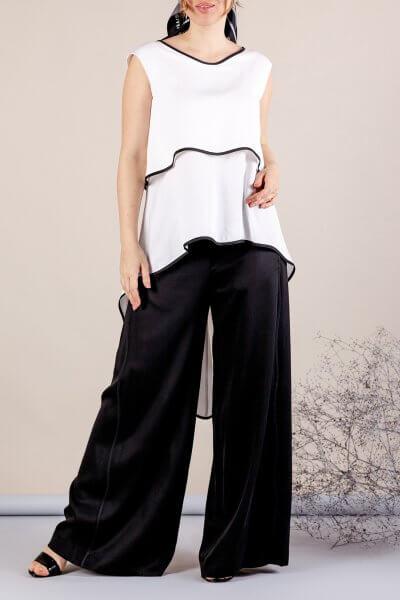 Костюм с брюками палаццо MMT_075_white_076_black, фото 3 - в интеренет магазине KAPSULA