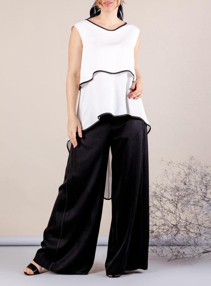 Костюм с брюками палаццо MMT_075_white_076_black, фото 1 - в интернет магазине KAPSULA