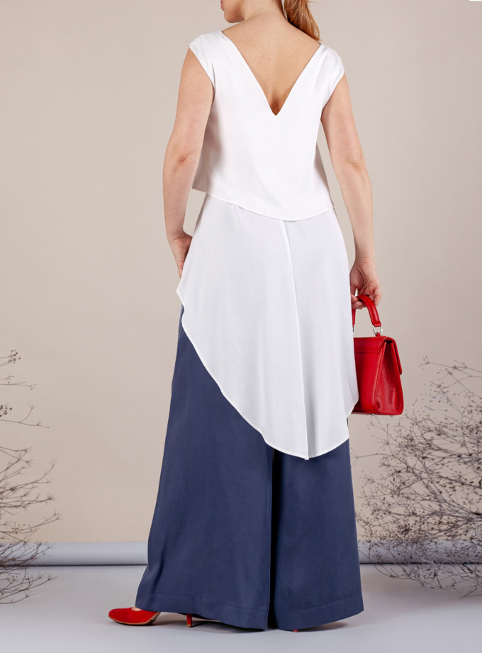 Костюм с брюками палаццо MMT_075a_white_076_blue, фото 1 - в интеренет магазине KAPSULA