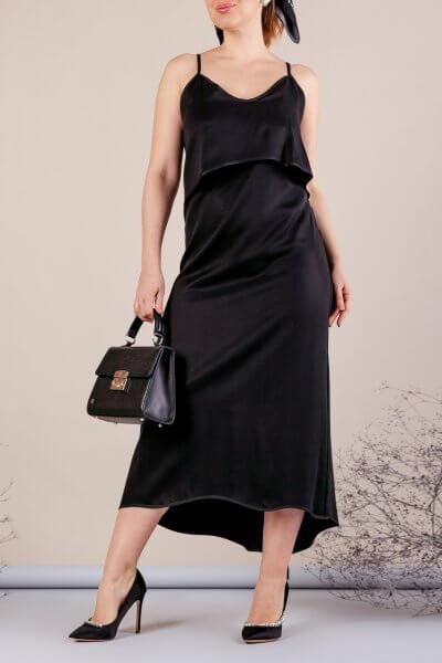 Платье миди на тонких бретелях MMT_077_black, фото 1 - в интеренет магазине KAPSULA