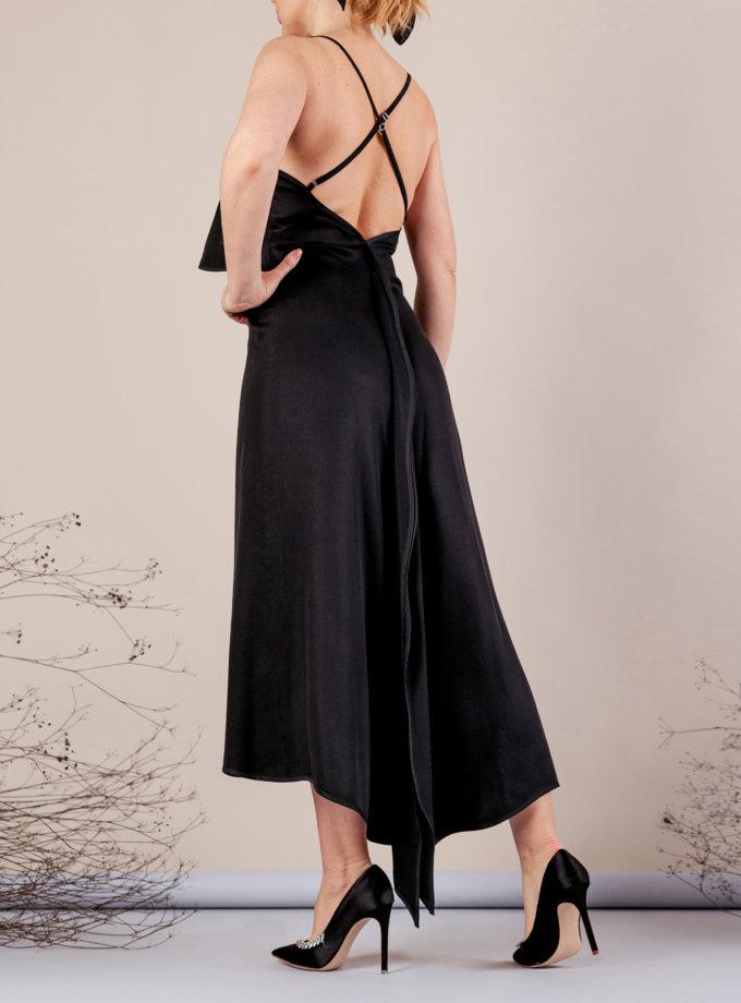 Платье миди на тонких бретелях MMT_077_black, фото 1 - в интернет магазине KAPSULA