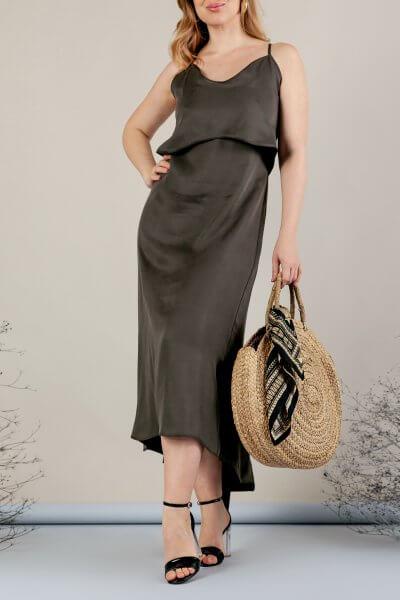 Платье миди на тонких бретелях MMT_077_haki, фото 4 - в интеренет магазине KAPSULA