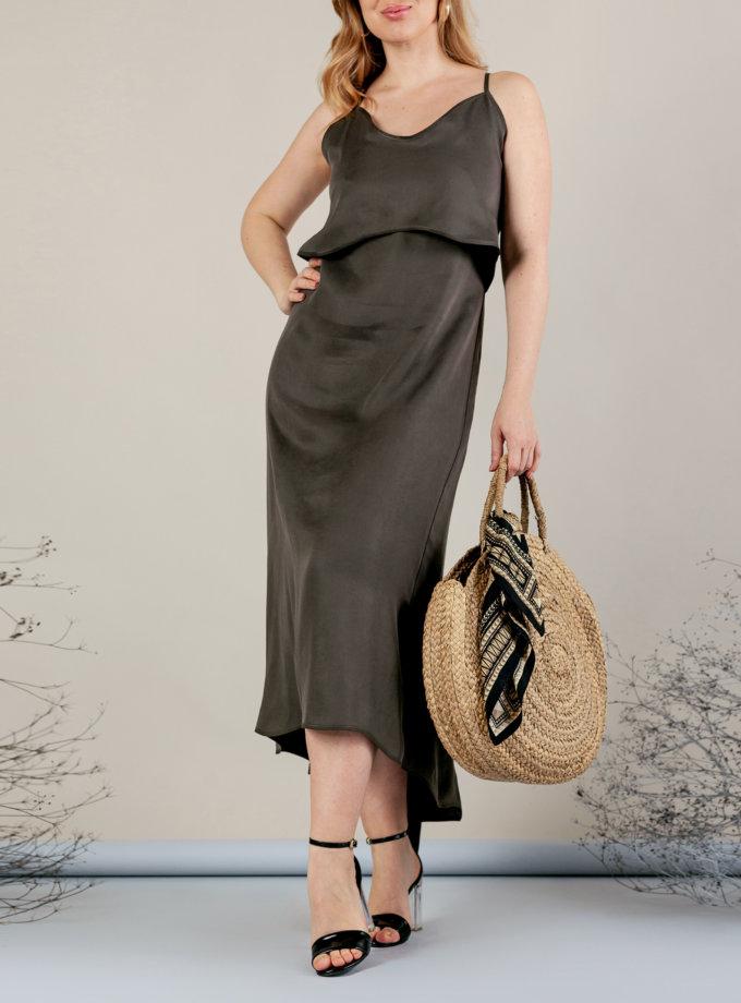 Платье миди на тонких бретелях MMT_077_haki, фото 1 - в интернет магазине KAPSULA