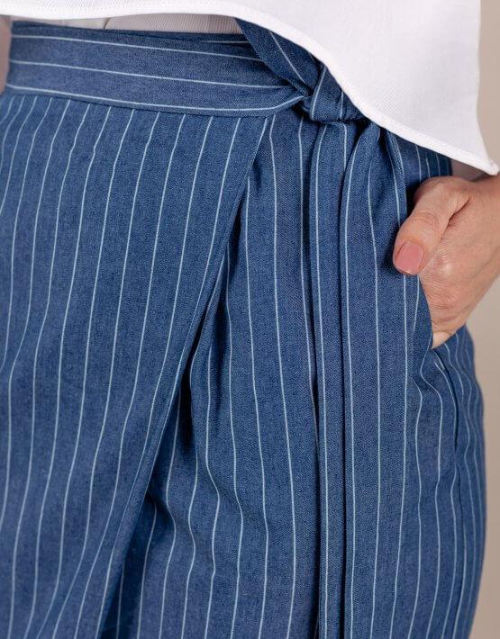 Юбка на запах из хлопка DARK BLUE MMT_079_dark_denim, фото 5 - в интеренет магазине KAPSULA