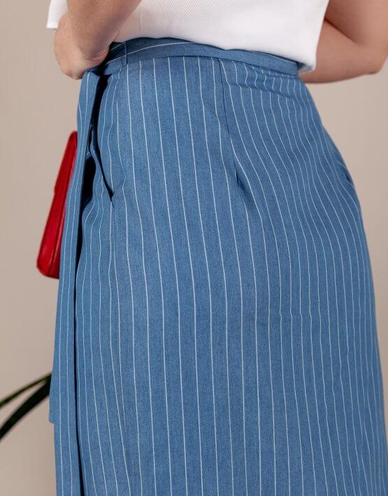 Юбка на запах из хлопка BLUE MMT_079_ligth_denim, фото 6 - в интеренет магазине KAPSULA
