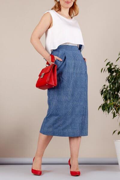 Хлопковая юбка в мелкую полоску MMT_079_narrow_strip, фото 1 - в интеренет магазине KAPSULA