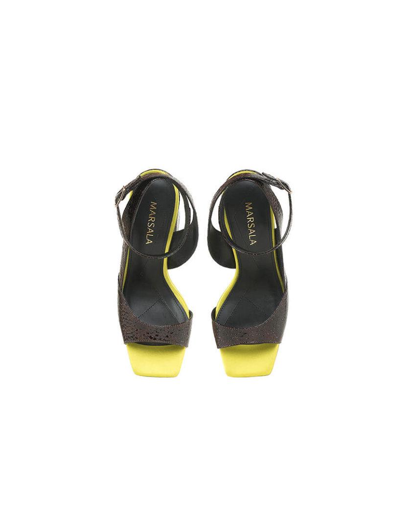 Кожаные босоножки Malena Croco Lime MRSL_818521, фото 1 - в интернет магазине KAPSULA