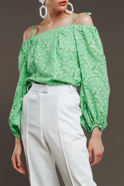 Хлопковая блуза с открытыми плечами NM_268, фото 1 - в интеренет магазине KAPSULA
