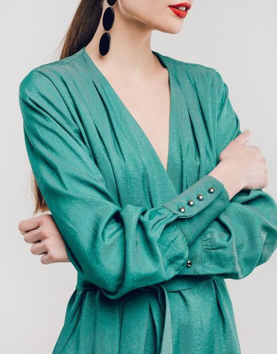 Платье на запах из хлопка NM_299, фото 2 - в интеренет магазине KAPSULA