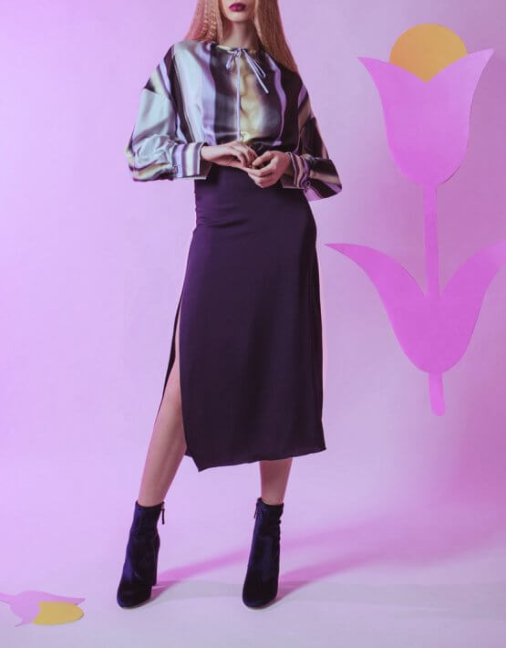 Шелковое платье на кулиске SKR_10008_outlet, фото 5 - в интеренет магазине KAPSULA