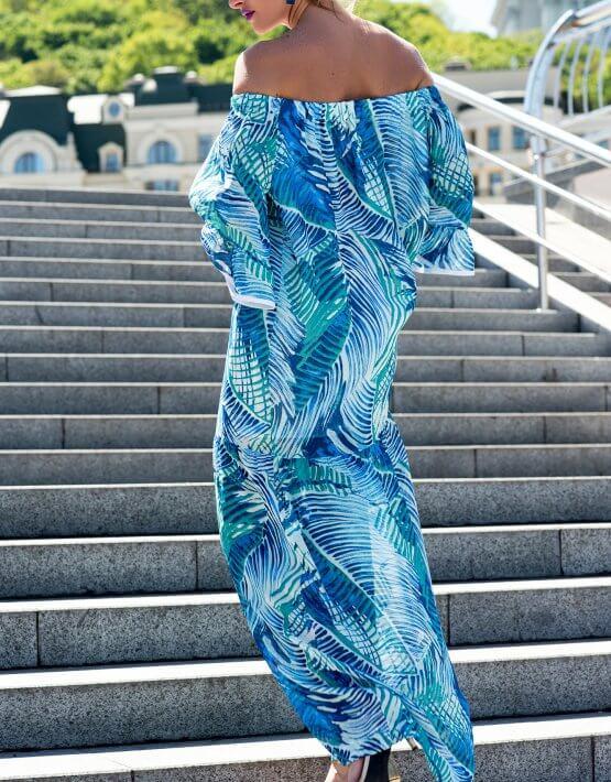 Шелковое платье макси на резинке SKR_10038_outlet, фото 3 - в интеренет магазине KAPSULA