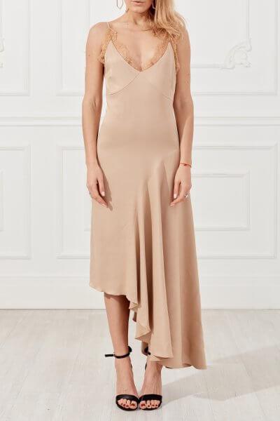Шелковое платье с воланом SKR_10046_outlet, фото 1 - в интеренет магазине KAPSULA