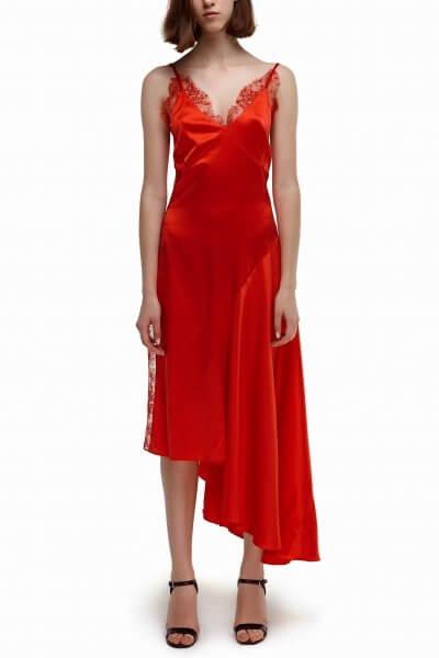 Шелковое платье с воланом SKR_10046_outlet-1, фото 1 - в интеренет магазине KAPSULA