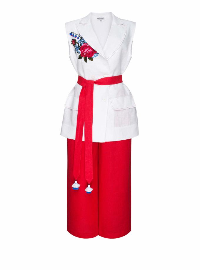 Льняной костюм из жилета и кюлот РОЗА FOBERI_SS20043, фото 1 - в интернет магазине KAPSULA
