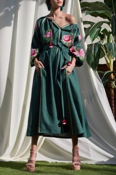 Льняное платье миди ФЛОРА FOBERI_SS20050, фото 1 - в интеренет магазине KAPSULA