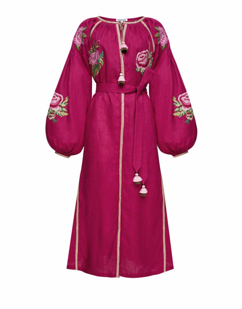Льняное платье миди ФЛОРА FOBERI_SS20051, фото 1 - в интернет магазине KAPSULA