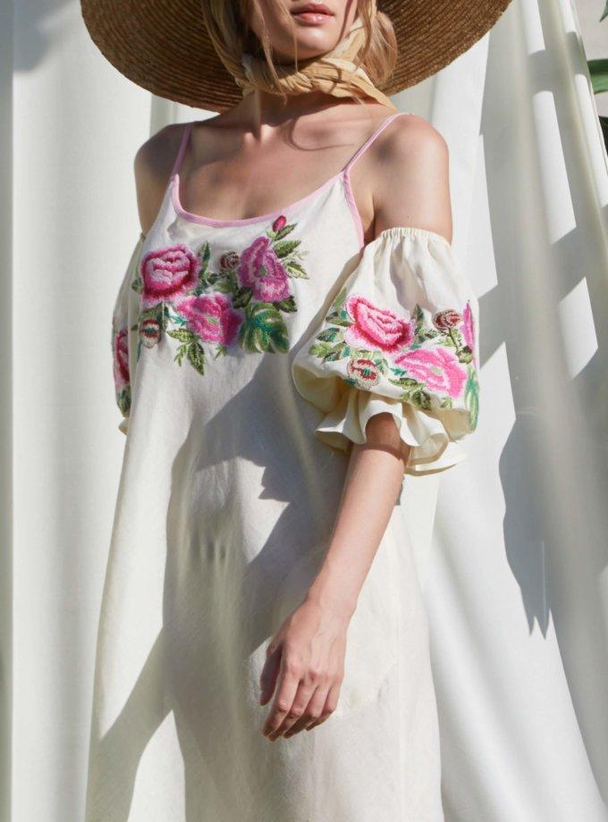 Льняное платье с открытыми плечами ФЛОРА FOBERI_SS20052, фото 1 - в интеренет магазине KAPSULA