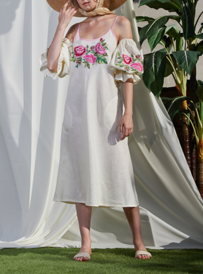 Льняное платье с открытыми плечами ФЛОРА FOBERI_SS20052, фото 1 - в интернет магазине KAPSULA