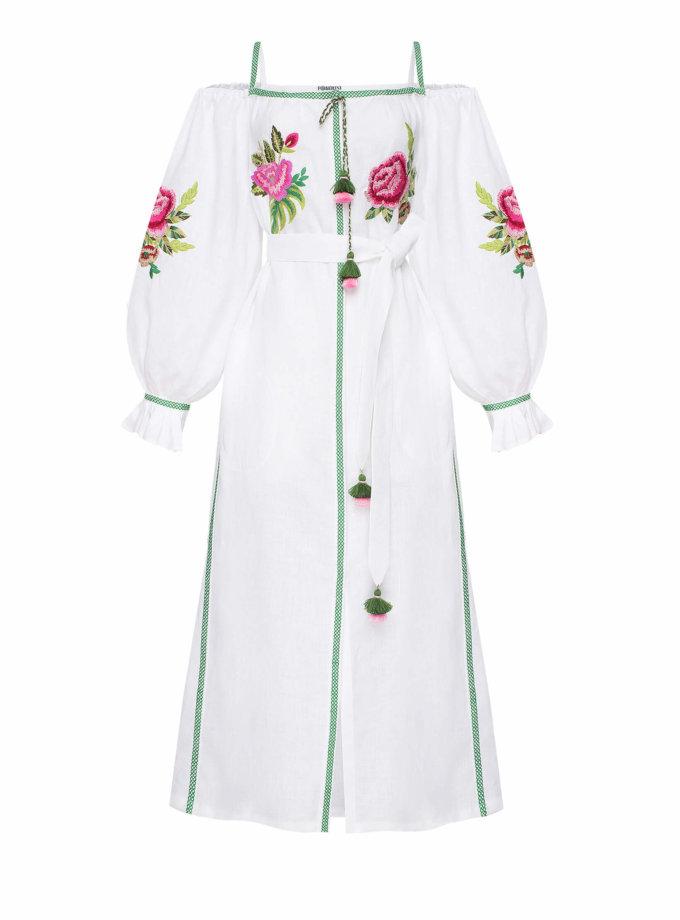 Льняное платье с открытыми плечами ФЛОРА FOBERI_SS20057, фото 1 - в интеренет магазине KAPSULA