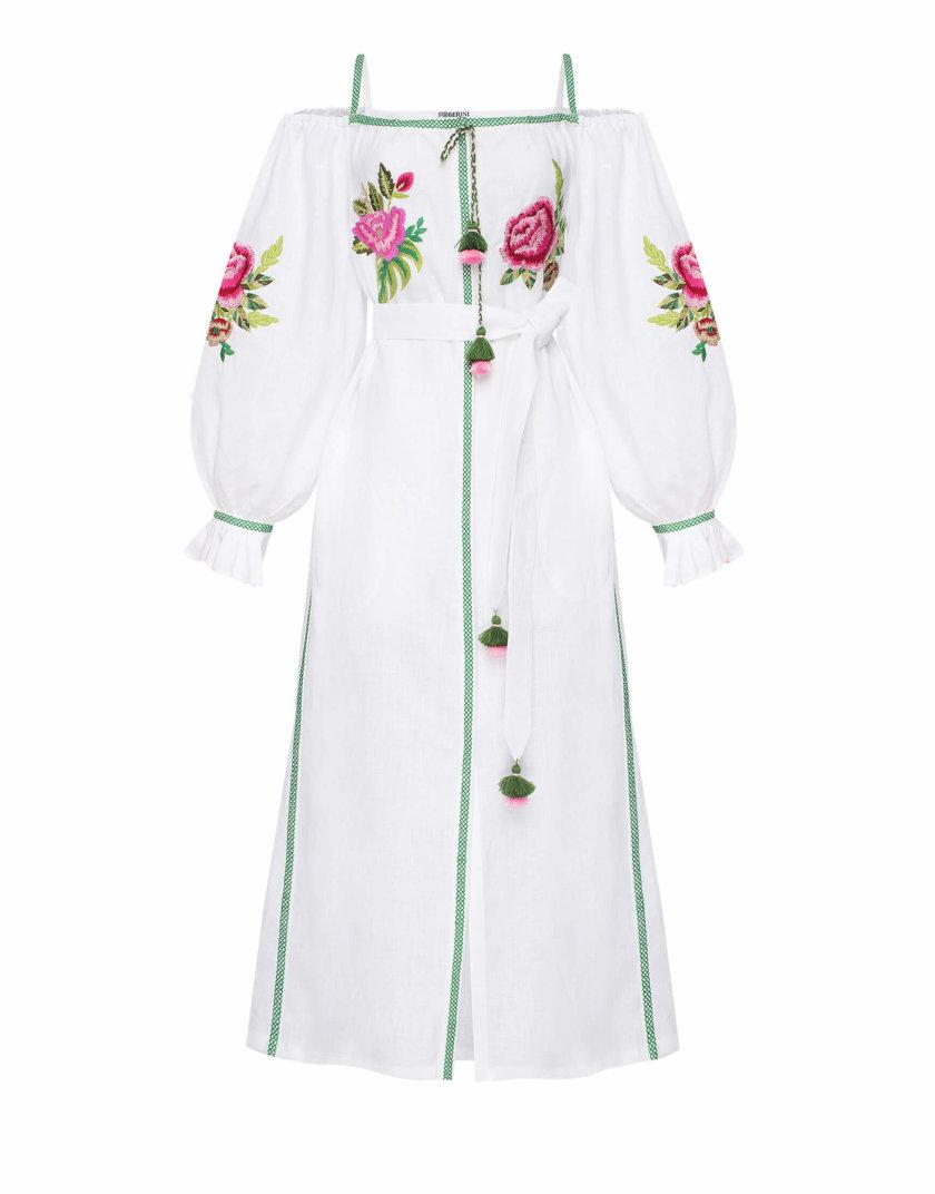 Льняное платье с открытыми плечами ФЛОРА FOBERI_SS20057, фото 1 - в интернет магазине KAPSULA