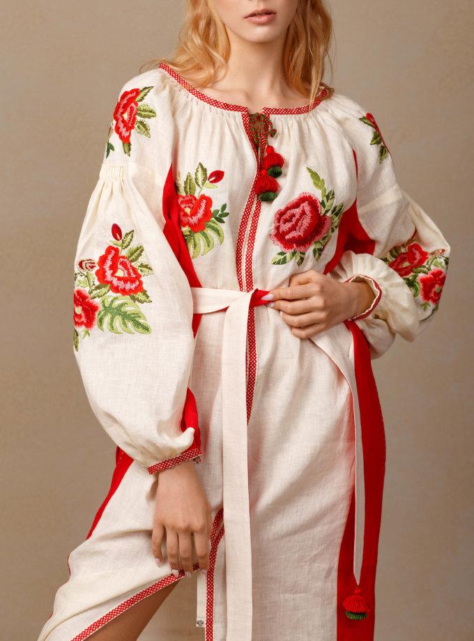 Льняное платье миди Флора FOBERI_SS20090, фото 1 - в интеренет магазине KAPSULA