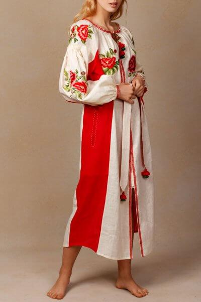 Льняное платье миди Флора FOBERI_SS20090, фото 4 - в интеренет магазине KAPSULA