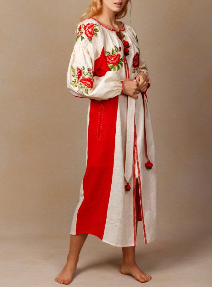 Льняное платье миди Флора FOBERI_SS20090, фото 1 - в интернет магазине KAPSULA