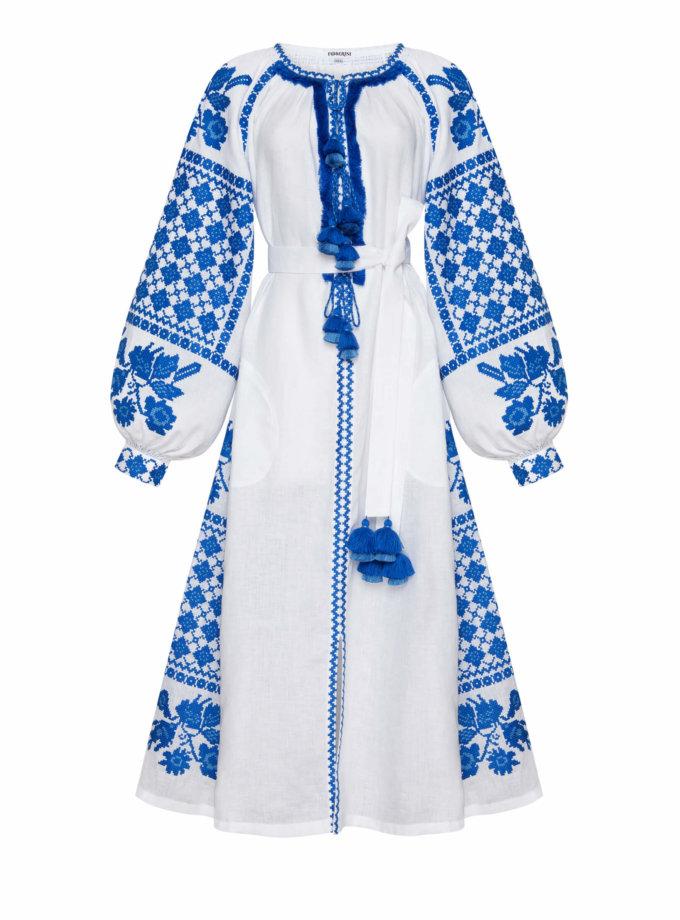 Льняное платье миди Золото FOBERI_SS20096, фото 1 - в интеренет магазине KAPSULA
