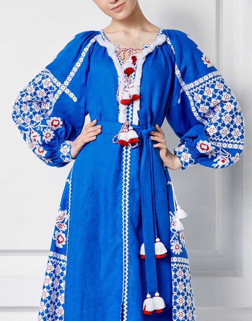 Льняное платье миди Золото FOBERI_SS20102, фото 1 - в интернет магазине KAPSULA