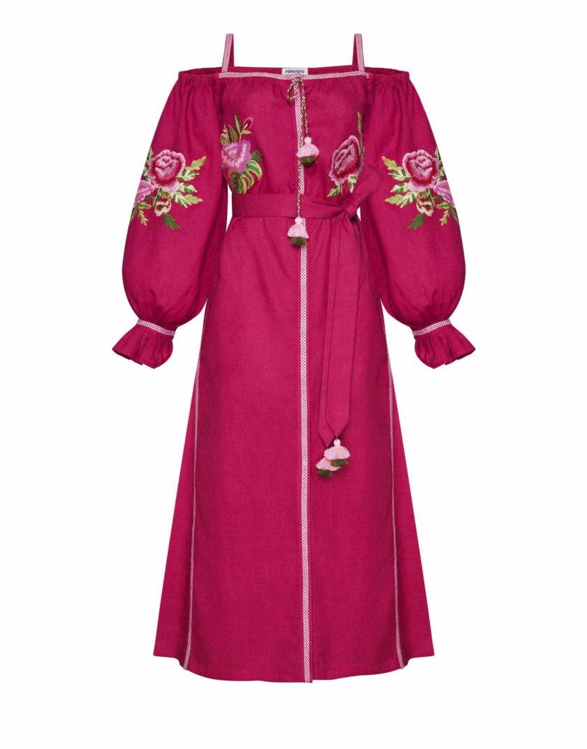 Льняное платье миди Флора FOBERI_SS20105, фото 1 - в интернет магазине KAPSULA