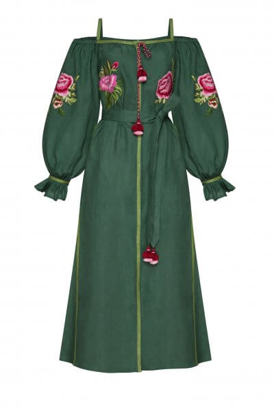 Льняное платье миди Флора FOBERI_SS20106, фото 1 - в интеренет магазине KAPSULA