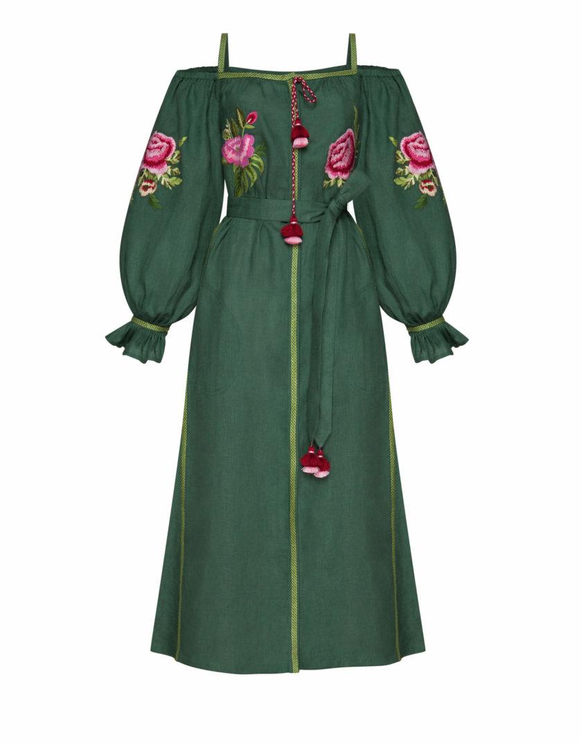 Льняное платье миди Флора FOBERI_SS20106, фото 1 - в интернет магазине KAPSULA