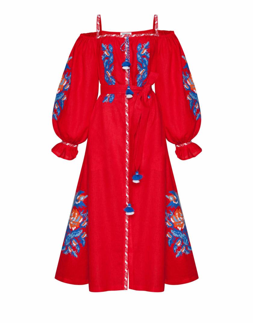 Льняное платье миди Клэр шик FOBERI_SS20107, фото 1 - в интернет магазине KAPSULA
