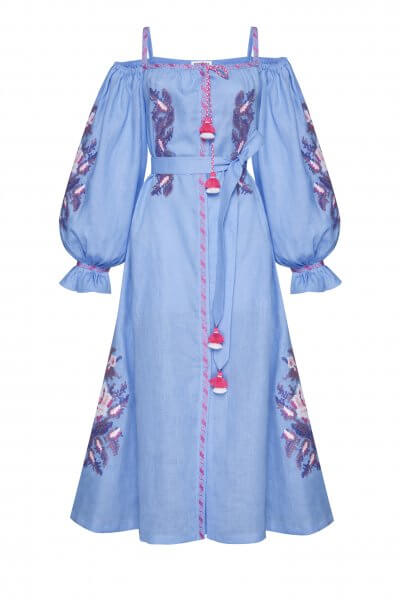 Льняное платье миди Клэр шик FOBERI_SS20109, фото 1 - в интеренет магазине KAPSULA