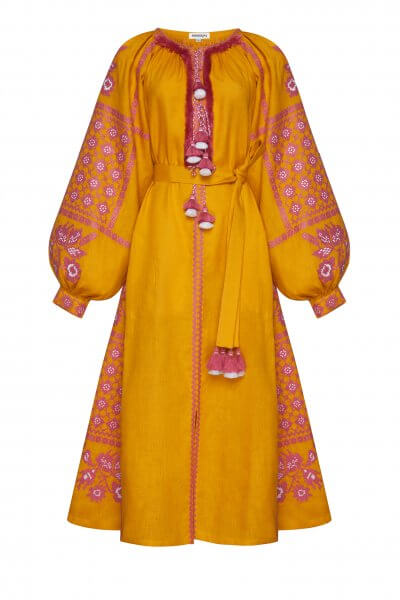 Льняное платье миди Золото FOBERI_SS20115, фото 1 - в интеренет магазине KAPSULA