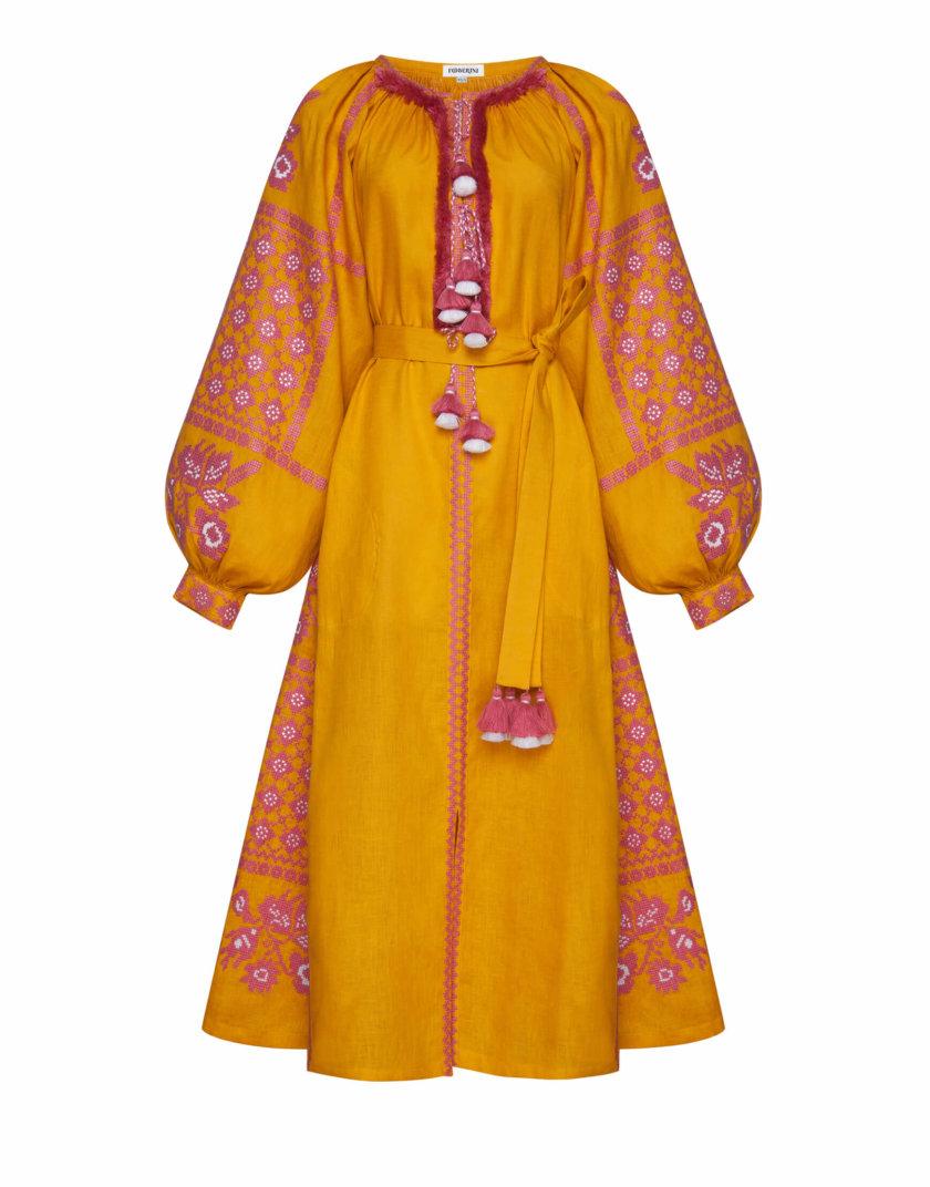 Льняное платье миди Золото FOBERI_SS20115, фото 1 - в интернет магазине KAPSULA