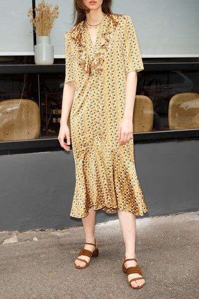 Платье с воланом и поясом VONA_SS-20-45, фото 1 - в интеренет магазине KAPSULA