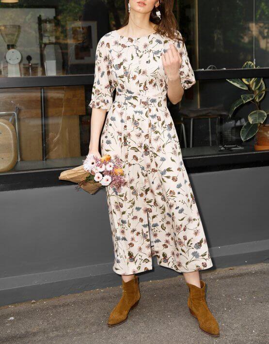 Платье из хлопка с объемними руаквами VONA_SS-20-48, фото 4 - в интеренет магазине KAPSULA