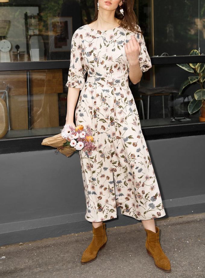 Платье из хлопка с объемними руаквами VONA_SS-20-48, фото 1 - в интеренет магазине KAPSULA