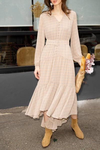 Шифоновое платье в клетку VONA_SS-20-49, фото 1 - в интеренет магазине KAPSULA