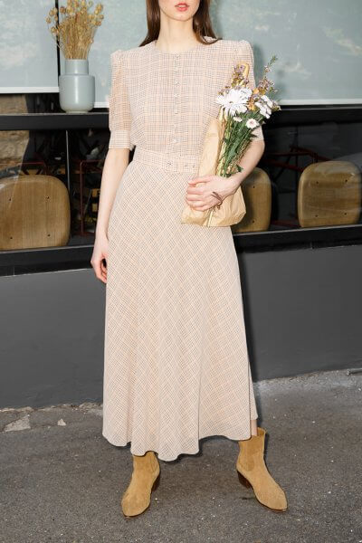 Шифоновое платье с поясом VONA_SS-20-50, фото 6 - в интеренет магазине KAPSULA
